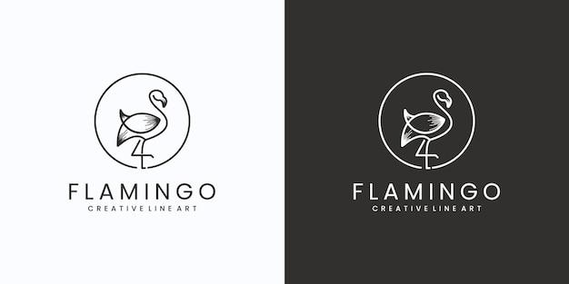 Креативный логотип линии фламинго