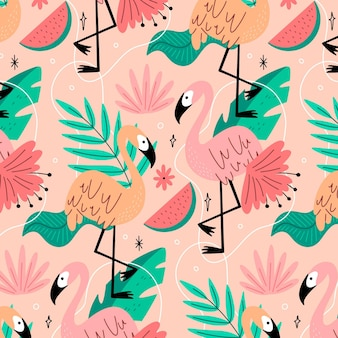 Creative flamingos pattern with tropical leaves