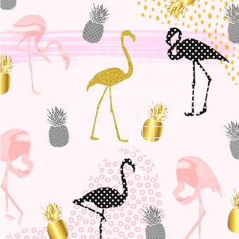 Creative flamingos with pineapple fruits