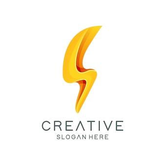Creative flash bolt logo template