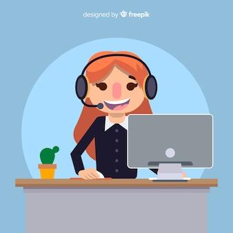 Creative flat call center concept