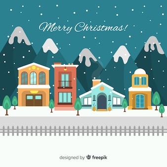 Creative flat christmas town background