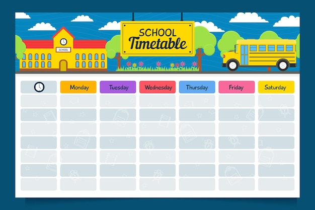 Creative flat design back to school timetable