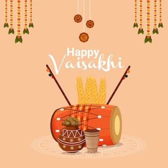 Creative flat design concept of happy vaisakhi