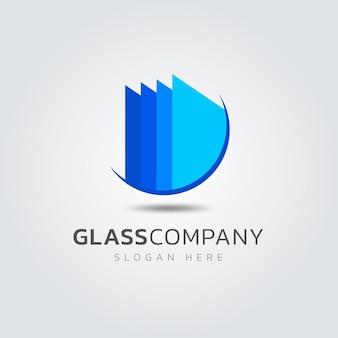 Modello di logo in vetro design piatto creativo