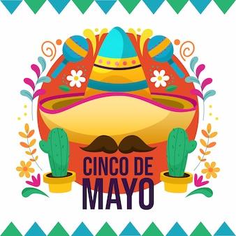 멕시코 모자의 창조적 인 평면 디자인 일러스트