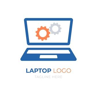創造的なフラットデザインのラップトップのロゴのテンプレート