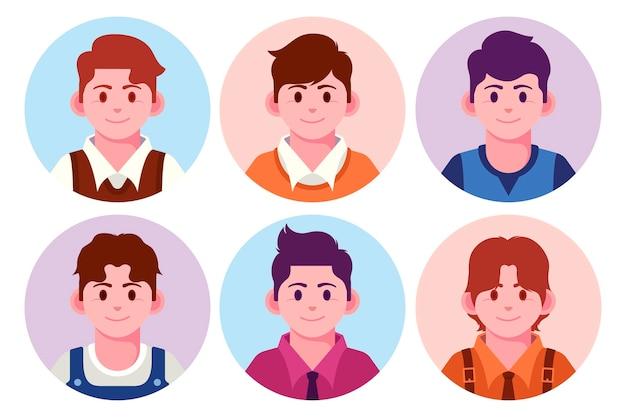 Collezione di icone del profilo di design piatto creativo