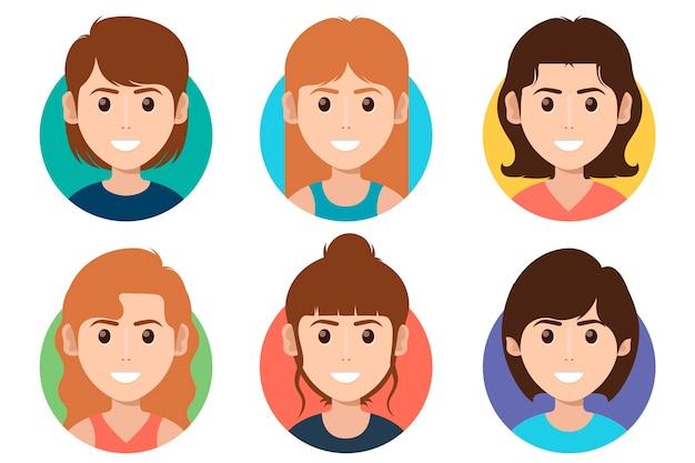 크리에이 티브 플랫 디자인 프로필 아이콘 모음