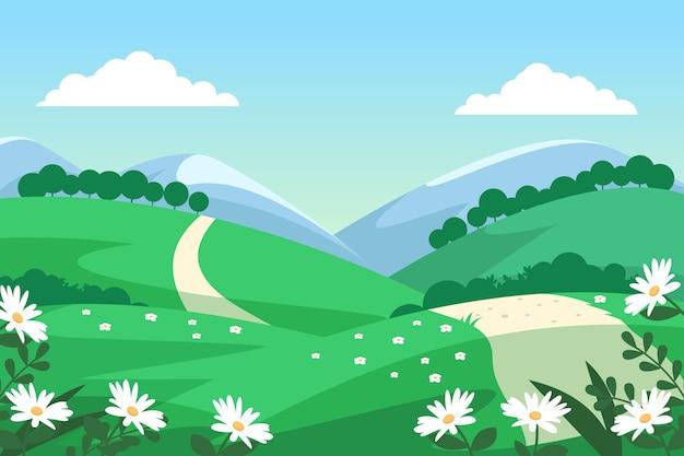 Креативный плоский дизайн весенний пейзаж