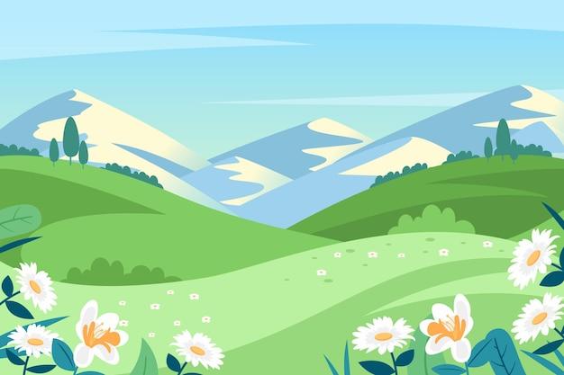 クリエイティブなフラットデザインの春の風景
