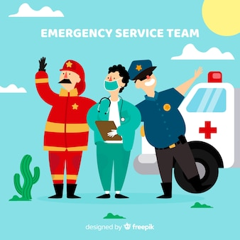 Creative flat emergency team design