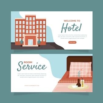 사진이있는 크리 에이 티브 플랫 호텔 배너 템플릿