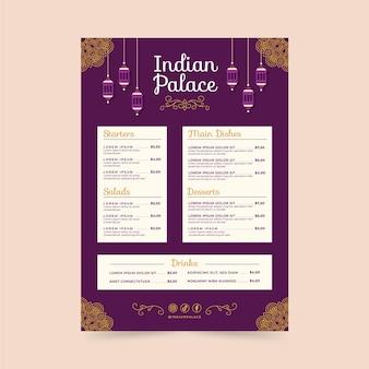 Modello di menu piatto indiano creativo