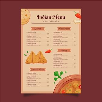 Creative flat indian menu template