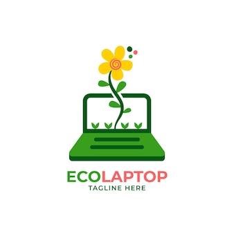 Modello di logo creativo per laptop piatto