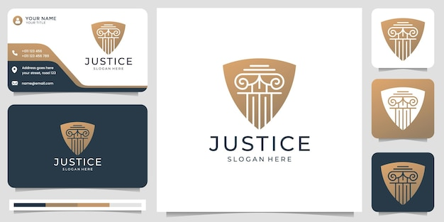 Creative flat law firm logo combine shield shape concept design. logo and business card template.