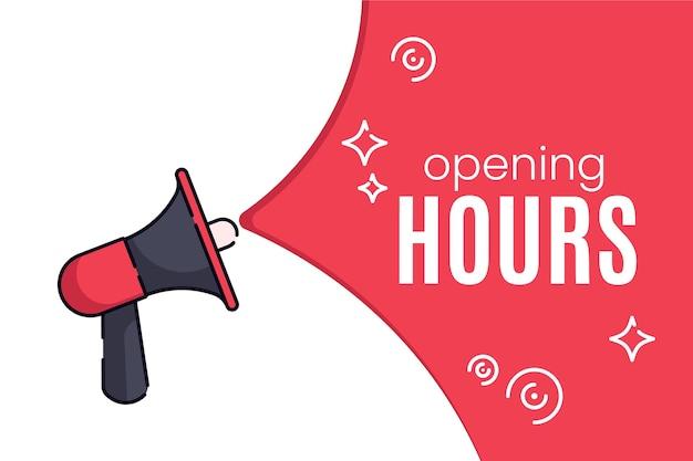 Segno creativo piatto nuovo orario di apertura