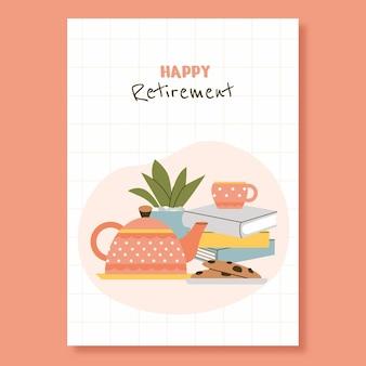 Креативный плоский шаблон поздравительной открытки на пенсию