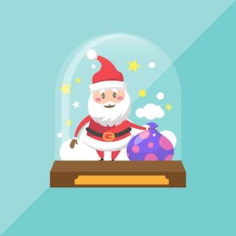 Creative flat snowball globe concept