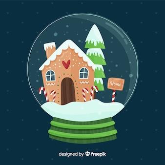 クリスマスコンセプトのクリエイティブフラットスノーボールグローブ
