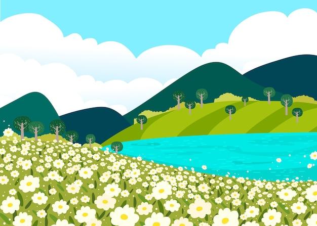Творческий плоский весенний пейзаж