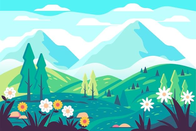 創造的な平らな春の風景