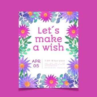 創造的な花の誕生日カードテンプレート
