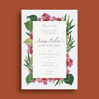 Creative floral birthday invitation template
