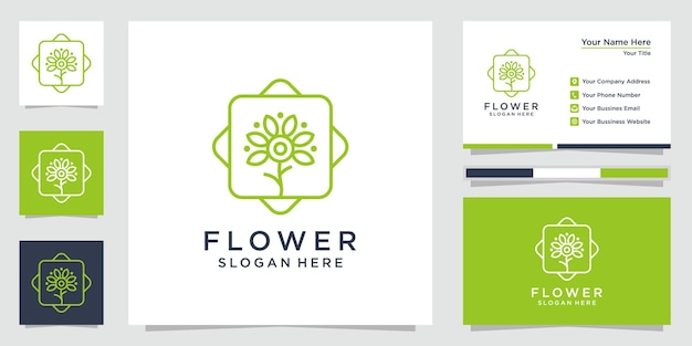 Creative floral logo inspiration with line art style and business card premium vector