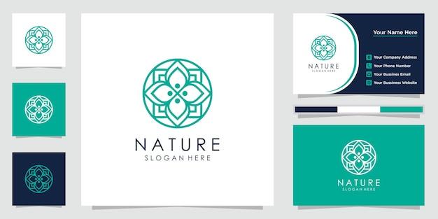 라인 아트 스타일과 명함이있는 창조적 인 꽃 로고. 로고는 스파, 미용실, 장식, 부티크에 사용할 수 있습니다.