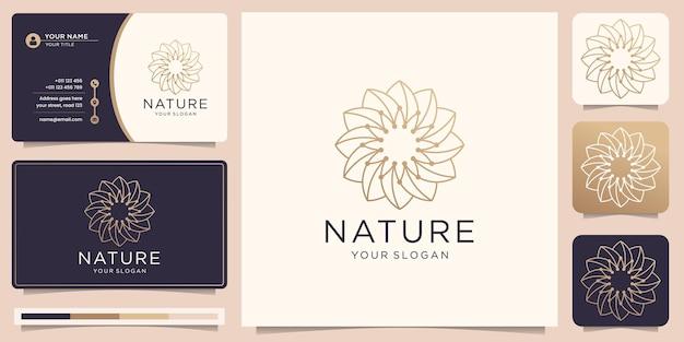円の形と名刺のラインアートスタイルで創造的な花のロゴ