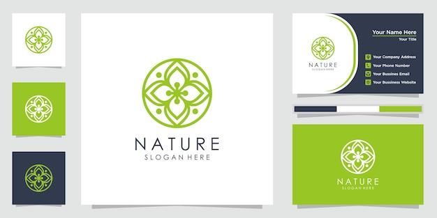 Креативный цветочный логотип со стильными линиями и визитной карточкой. логотип можно использовать для спа, салона красоты, украшения, бутика.