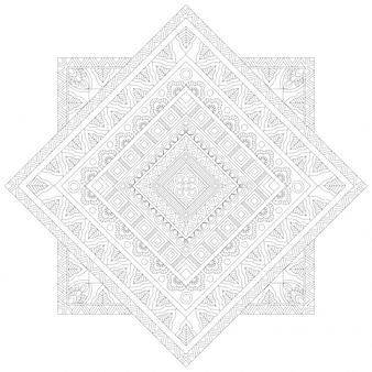 Творческий цветочный дизайн мандалы, этнический орнамент для раскраски, красивый декоративный элемент в квадратной форме.