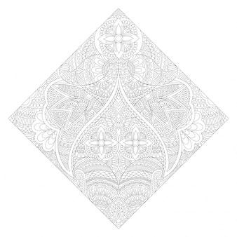 Творческий цветочный дизайн мандалы, этнический орнамент для раскраски, красивый декоративный элемент.