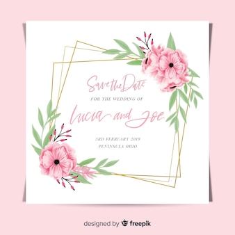 Creative floral wedding invitation template with golden frame