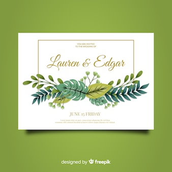 Creative floral wedding invitation template