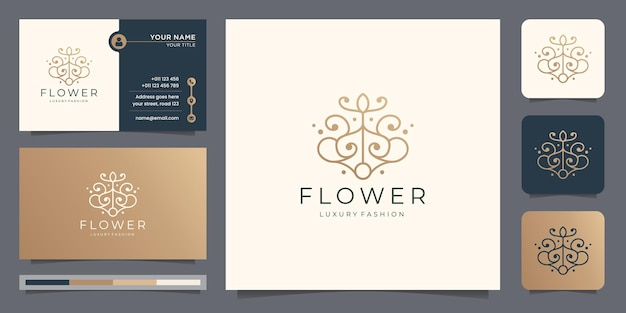 Creative flower abstract line style logo with business card template. luxury fashion floral logo.