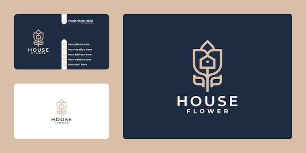 名刺とクリエイティブな花と家のロゴの組み合わせ