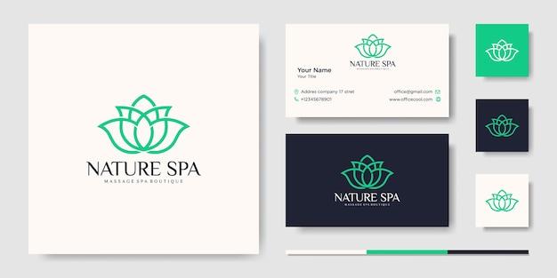 創造的な花のインスピレーションベクトル線画ロゴデザインテンプレートと名刺