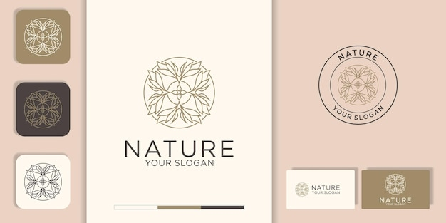創造的な花の葉のインスピレーションベクトルロゴデザインテンプレートと名刺