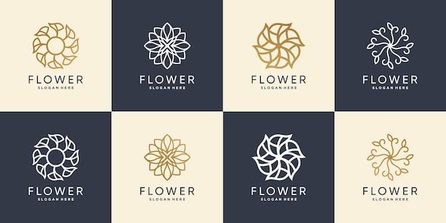 Креативный набор цветочных логотипов premium векторы