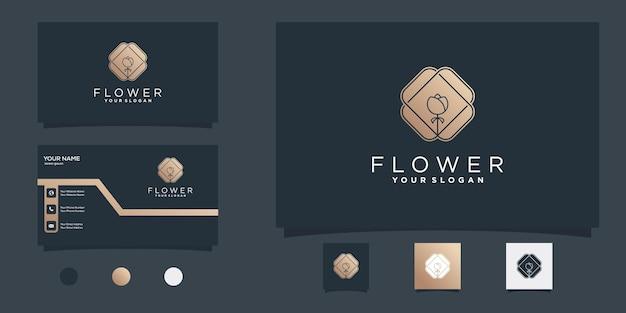 Creative flower logo design template with gold gradient colours for beauty salon premium vector