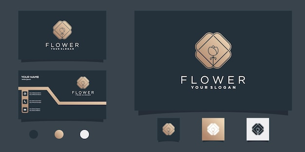 Креативный цветочный шаблон дизайна логотипа с золотыми градиентными цветами для салона красоты premium векторы