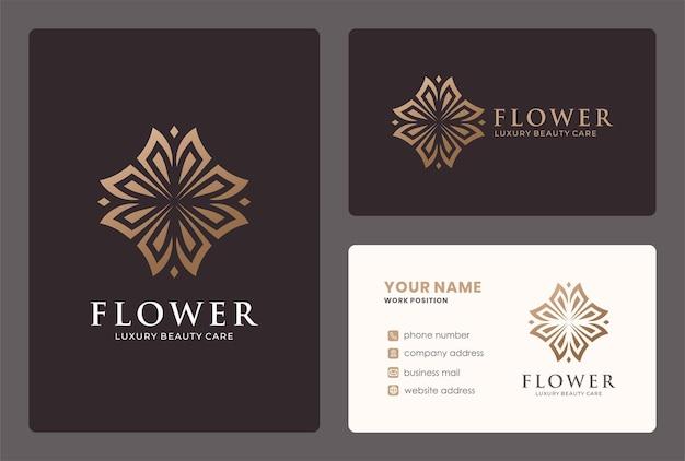 Креативный цветочный дизайн логотипа с золотым цветом.