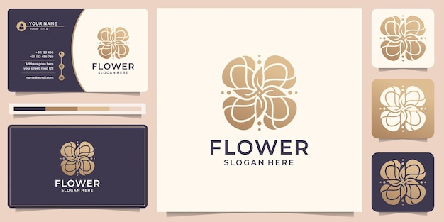 Creative flower rose logo template luxury rose gold and business card design premium vector