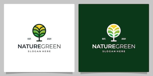 円の形をした創造的な花の木のロゴデザイン。フルカラーの自然の木の葉のロゴデザイン。