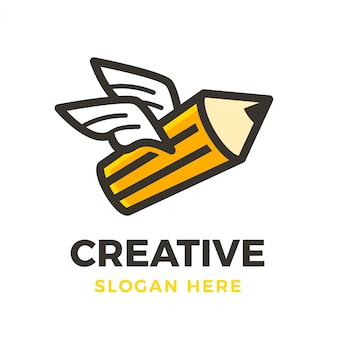 Creative fly pencil logo
