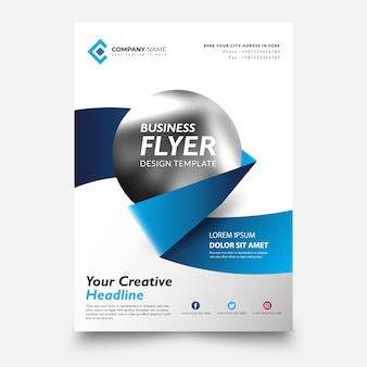 Creative flyer template, with creative ribbon and circle