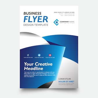 Creative flyer template, with ribbon blue background design